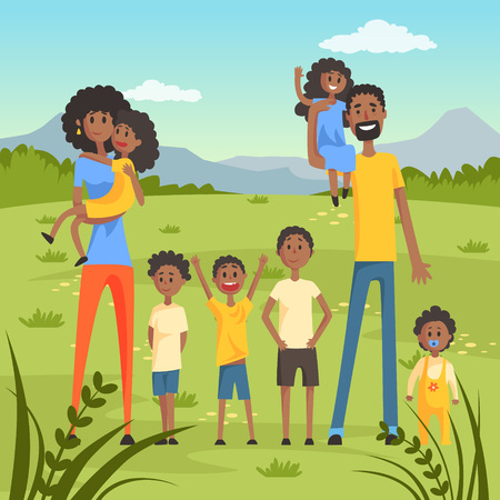 Illustration pour Happy black family with many children on nature background flat vector illustration - image libre de droit
