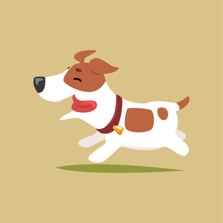 Ilustración de Jack russell puppy character running, cute funny terrier vector illustration on a beige background - Imagen libre de derechos