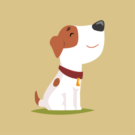 Illustration for Jack russell puppy character side view, cute funny terrier vector illustration - Royalty Free Image