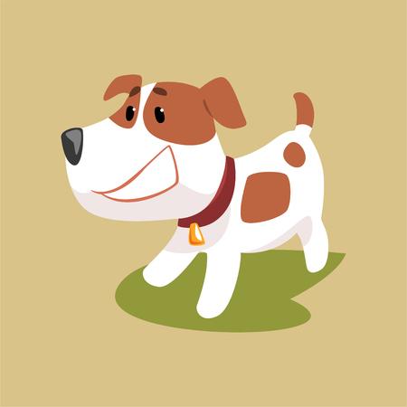Illustration pour Jack russell puppy character smiling, cute funny terrier vector illustration - image libre de droit
