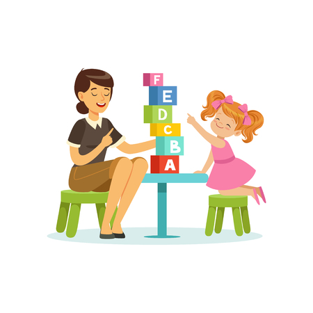 Ilustración de Cute little girl learning alphabet letters through play with speech therapist. Educational game concept - Imagen libre de derechos