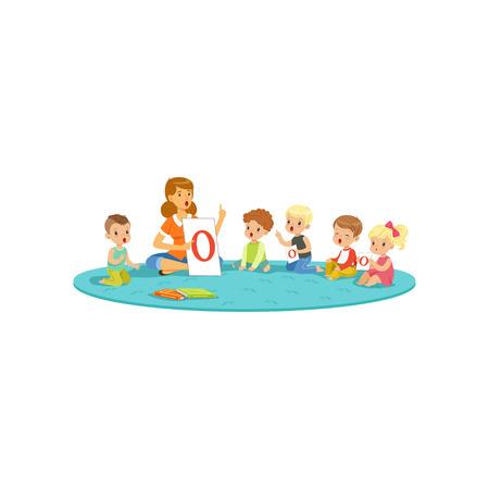 Illustration pour Group of little kids sitting on carpet and learning letters with teacher. Children development center - image libre de droit