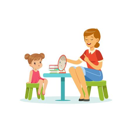 Illustration pour Speech and language specialist teaching little girl correct pronunciation of letters. Child speech sound development - image libre de droit