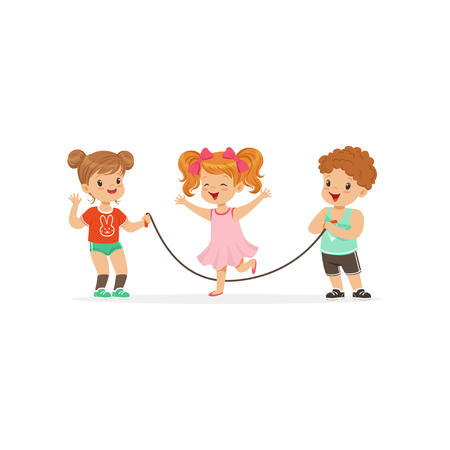 Illustration pour Flat vector illustration of little boy and two girls playing with jumping-rope. Outdoor activity or game concept - image libre de droit