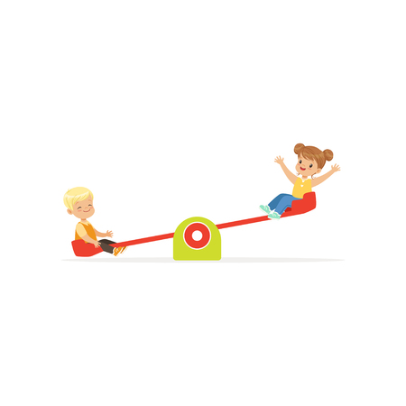 Illustration pour Flat vector illustration of toddler boy and girl having fun on rocking seesaw. Kids playing outdoor game together on kindergarten playground - image libre de droit