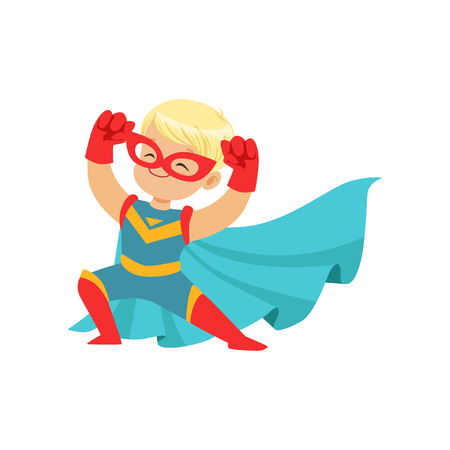 Ilustración de Comic happy kid in superhero costume, red mask and gloves, blue cape developing in the wind, posing and showing muscles. Child with extraordinary magical power. Vector cartoon flat super boy character - Imagen libre de derechos