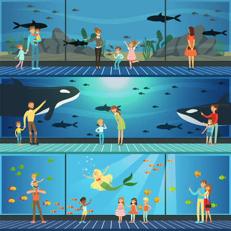 Illustration pour People visiting an oceanarium set of vector Illustrations, parents with children watching underwater scenery with sea animals - image libre de droit