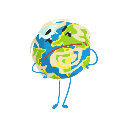 Illustration pour Cute skeptical cartoon Earth planet character with hands on its waist, funny globe emoji vector Illustration - image libre de droit
