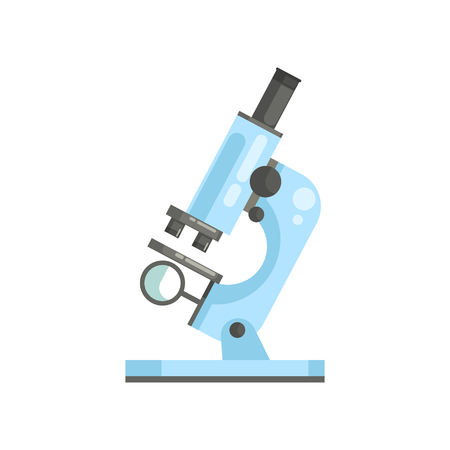 Illustration for Flat vector of optical laboratory microscope in flat style. Professional scientific or medical lab equipment for researchers and experiments - Royalty Free Image