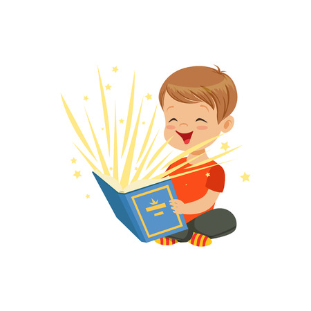 Illustration pour Little boy sitting on the floor with magic book radiating bright sparks and stars. Kid character reading interesting fairy tales. Isolated flat vector - image libre de droit
