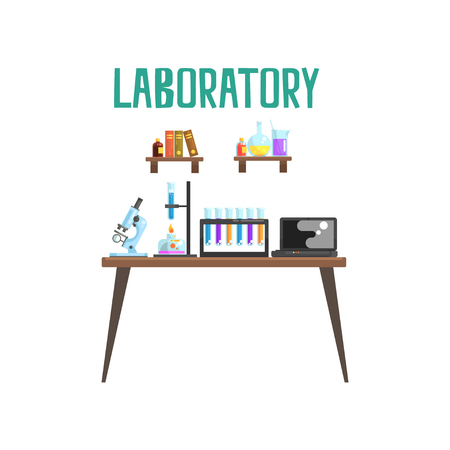 Illustration for Modern laboratory workplace. Equipment for scientific experiments and research microscope, test tubes, spirit lamp, laptop. Books and glassware with liquids on shelves. Isolated flat vector - Royalty Free Image