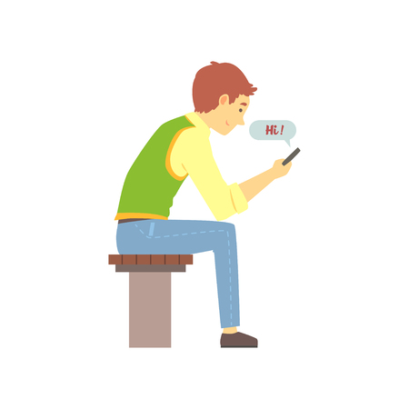 Illustration pour Young brown-haired boy sending Hi message on his phone. People finding love using love chat. Vector colorful illustration in flat style - image libre de droit