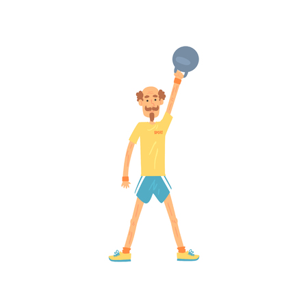 Foto per Adult man lifting kettlebell above head. Male doing strength exercise with weight equipment. Elderly sportsmen with mustache and beard. Isolated flat vector. - Immagine Royalty Free
