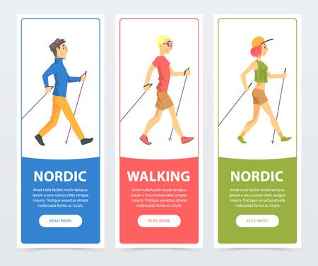 Ilustración de Colorful collection of cards with people Nordic walkers. Active young people outdoor. Sport and healthy lifestyle concept. Cartoon flat vector characters - Imagen libre de derechos