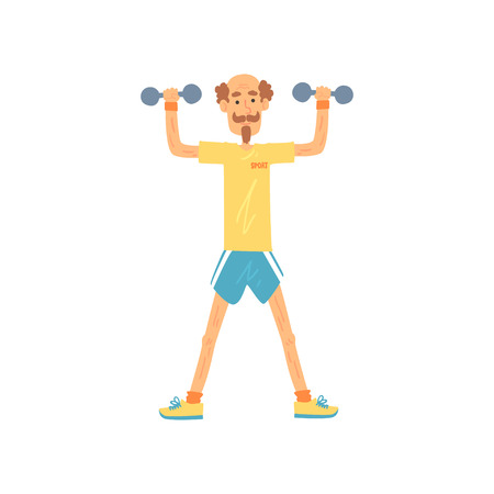 Ilustración de Old man character standing with feet hip-distance apart and raising arms with dumbbells. Elderly male in t-shirt and shorts. Physical activity. Flat vector - Imagen libre de derechos