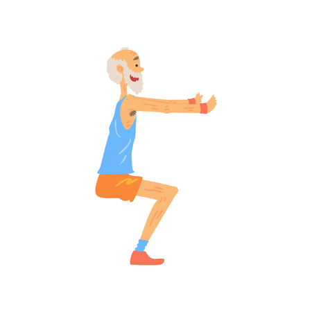 Ilustración de Athletic old man doing squat exercise. Cartoon elderly character with gray beard in sport outfit. Training outdoors. Healthy lifestyle. Side view. Isolated flat vector - Imagen libre de derechos