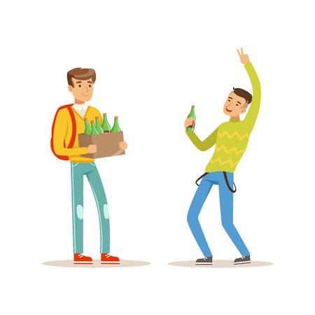 Illustration pour Boy came to party with box of alcoholic drinks. Drunk teen dancing with bottle of beer in hand. Teenagers celebrating holiday. Isolated flat vector - image libre de droit