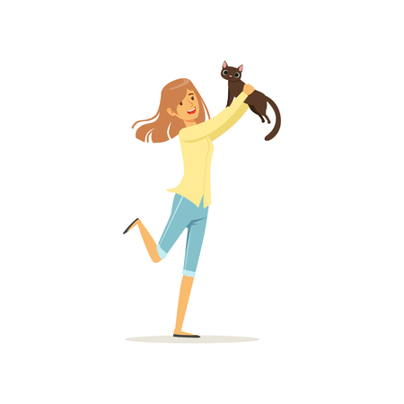 Cute brunette girl holding brown cat in hands. Young woman adopt kitten out of animal shelter. Design for pet shop or veterinary clinic. Flat vector