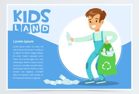 Illustration pour Boy gathering plastic waste for recycling, kids land banner flat vector element for website or mobile app - image libre de droit