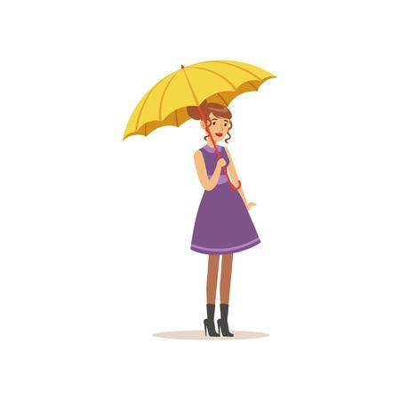 Ilustración de Beautiful young woman in purple dress standing with yellow umbrella flat vector illustration - Imagen libre de derechos