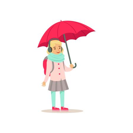 Ilustración de Lovely school girl with backpack standing with pink umbrella flat vector illustration - Imagen libre de derechos