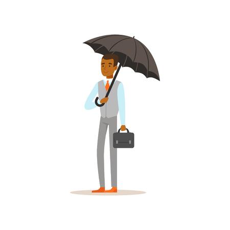 Ilustración de African american businessman standing with open black umbrella - Imagen libre de derechos