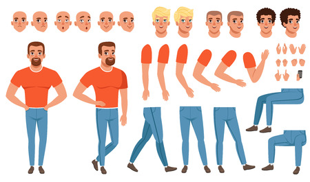 Ilustración de Creation set of young man, constructor for animation. Full length character. Body parts, face emotions, haircuts and hand gestures. Isolated flat vector - Imagen libre de derechos