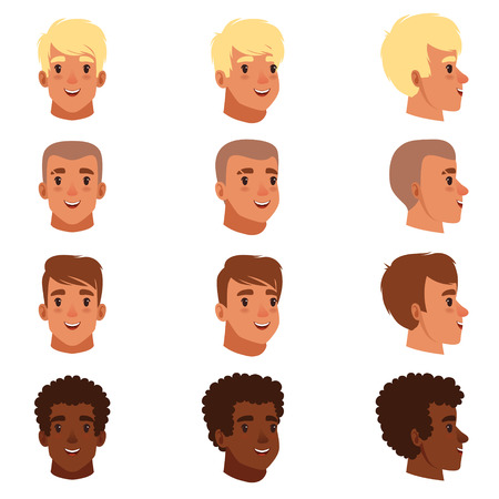 Ilustración de Illustration of men head avatars. - Imagen libre de derechos