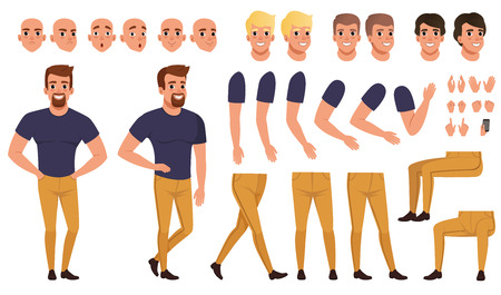 Illustration for Handsome man with views and poses. - Royalty Free Image
