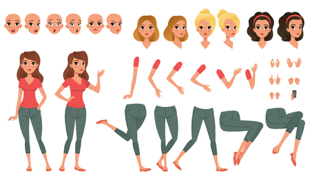 Illustration pour Pretty young woman constructor in flat style. Parts of body legs and arms , face emotions, haircuts and hands gestures. Vector cartoon girl character - image libre de droit