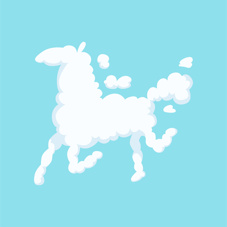 Illustration pour Funny cloud in form of running horse. Silhouette of animal. Isolated flat vector design for children s book, poster, greeting or invitation card - image libre de droit