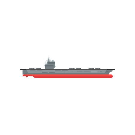 Illustration pour Large cartoon aircraft carrier with military planes on board;Marine vessel; Graphic design element for sticker, mobile or computer game; illustration in flat style isolated on white background - image libre de droit