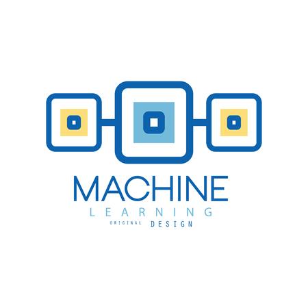 Ilustración de Machine learning. Geometric symbol of modern technologies. Computer industry concept. Flat vector design for advertising poster or corporate identity - Imagen libre de derechos