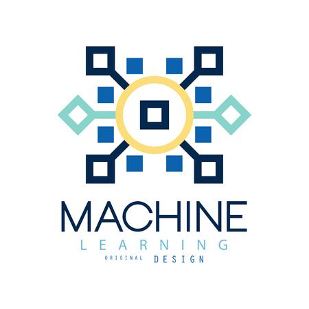 Ilustración de Colored geometric of machine learning. Artificial intelligence icon. Computer science. Flat vector design for website, business card or company label - Imagen libre de derechos