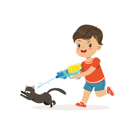 Illustrazione per Cute bully boy pouring a black cat out of a water gun, hoodlum cheerful little kid, bad child behavior vector Illustration - Immagini Royalty Free