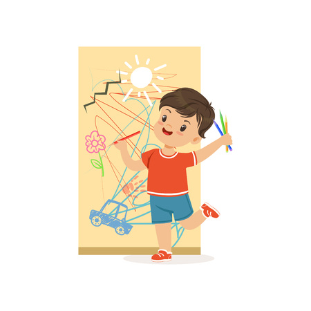 Illustrazione per Cute little bully boy drawing on the wall, hoodlum cheerful little kid, bad child behavior vector Illustration - Immagini Royalty Free