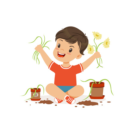 Illustrazione per Cute little bully boy sitting on the floor and tearing flowers from pots, hoodlum cheerful little kid, bad child behavior vector Illustration - Immagini Royalty Free