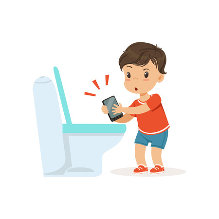 Illustrazione per Cute little bully boy throwing phone into the toilet, hoodlum cheerful little kid, bad child behavior vector Illustration - Immagini Royalty Free