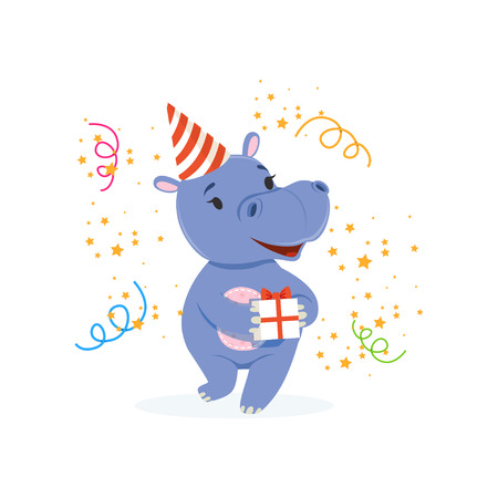 Illustration for Funny baby hippo character in a party hat holding gift box, cute behemoth African animal vector Illustration - Royalty Free Image