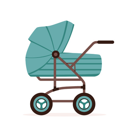 Ilustración de Blue baby pram or stroller, safe transportation of children vector illustration. - Imagen libre de derechos