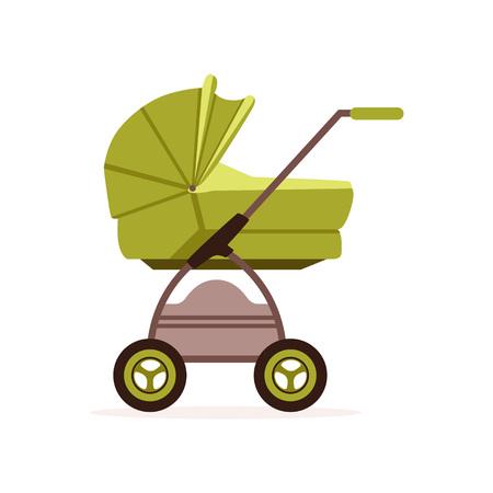 Ilustración de Green baby pram or stroller, safe transportation of children vector Illustration on a white backgroun - Imagen libre de derechos