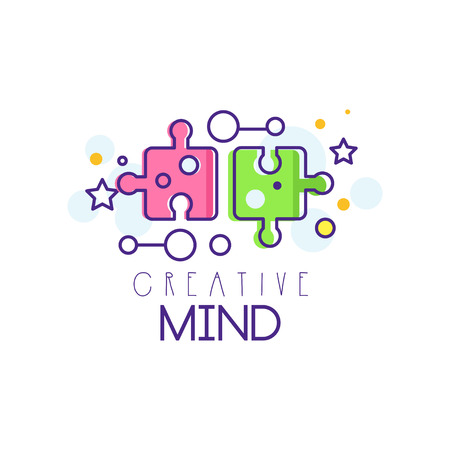 Ilustración de Colorful illustration with puzzle pieces. Abstract symbol of creative mind and thinking. Learning and education concept. Linear vector element for development center icon or business emblem. - Imagen libre de derechos