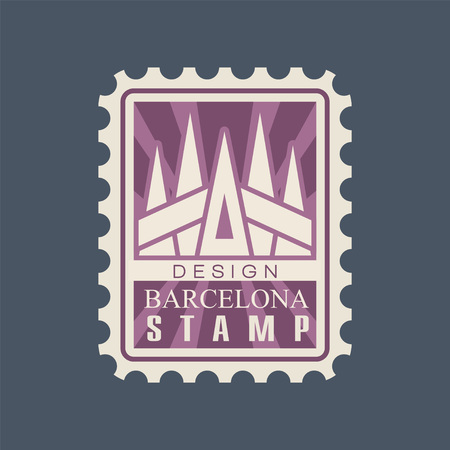 Ilustración de Rectangular postage stamp of Barcelona city with cathedral of Sagrada Familia. Famous architectural landmark. Creative icon in purple color. Flat vector illustration isolated on blue background. - Imagen libre de derechos