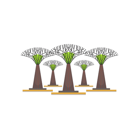 Illustration pour Supertrees in the Garden by the Bay, Singapore vector Illustration on a white background - image libre de droit