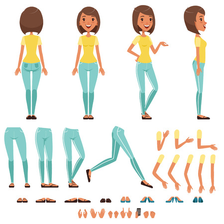 Ilustración de Young woman character creation set, girl with various views, hairstyles, poses and gestures cartoon vector Illustrations isolated on a white background - Imagen libre de derechos