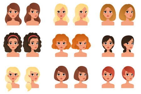 Ilustración de Collection of beautiful young girls with different hairstyles and colors shades long, short, medium, curly, blond, red, black, brunette. Flat vector avatars for mobile game - Imagen libre de derechos