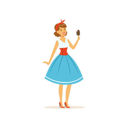 Illustration for Beautiful young woman eating a sweet ice cream, girl dressed in retro style vector Illustration on a white background - Royalty Free Image
