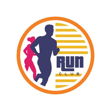 Ilustración de Run club logo template, emblem with abstract running man and woman silhouettes. - Imagen libre de derechos