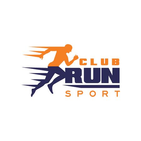 Ilustración de Run sport club logo template, emblem with running man silhouette, label for sports club, sport tournament, competition, marathon and healthy lifestyle vector illustration on a white background - Imagen libre de derechos