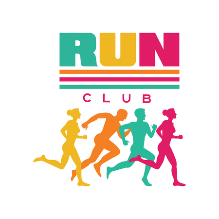 Ilustración de Run sport club logo template, emblem with abstract running people silhouettes, colorful label for sports club, sport tournament, competition, marathon and healthy lifestyle vector illustration - Imagen libre de derechos